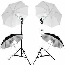 135w Continuous Lamp Bulb Light Photo Studio 4 Umbrella Lighting Stand Kit