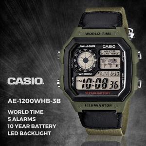 GENUINE Casio Digital Watch AE-1200WHB-3B Men's Sport Illuminator NEW FREE SHIP