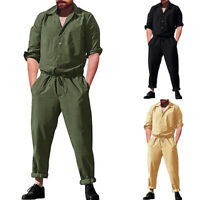 Men's Casual Baggy Long Sleeve Coverall Rompers Overalls Jumpsuits Cargo Pants