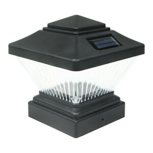8 Black Outdoor Garden Solar LED Post Deck Cap Square Fence Light Landscape Lamp