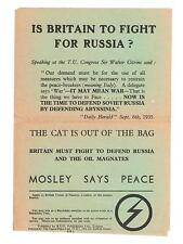 British Fascists - Mosley  Vintage  Rare leaflet. Is Britain To Fight Russia?