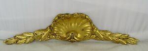 "16""  Antique French Gilded Bronze Furniture Pediment Decoration-Laurel Leaves"