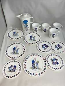 "VTG!  Holly Hobbie Tea Set Plastic Chilton ""sharing doubles the Fun"" 13 pc MINT"