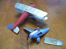 Lot of 2 HAND MADE WWI AIRCRAFT (Wood & Metal) & Diecast BONEYARD EINDECKER