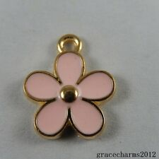 18x Gold&Pink Alloy Enamel Flowers Pendants Accessories Findings Craft 50993
