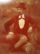 """ANTIQUE EARLY TINTYPE """"BUMP ON A LOG"""" WOOD GRAIN UNUSUAL POSE HANDSOME MAN PHOTO"""