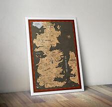 GAME of Thrones, Jon Snow, continente occidentale Mappa, Poster, stampa, TAGLIA A4 8.3 x 11.7