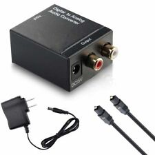 New TV Optical Coaxial Digital to RCA L/R Analog Audio Converter Headphone Out