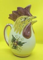 Vintage Italian Pottery Chicken Pitcher Made in Italy Signed Hand Painted