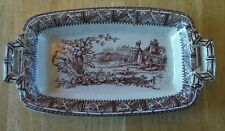 Antique W H Grindley Brown Transferware Butter Dish DAFFODIL PATTERN