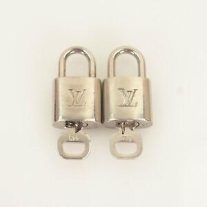 Authentic LOUIS VUITTON Padlock & Key Silver Color (2 sets) #03C267