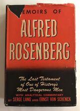 Memoirs of Alfred Rosenberg Last Testament One of History's Most Dangerous Men