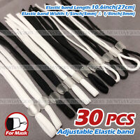 30Pcs Sewing Elastic Band Cord with Clear Adjustable Buckle, for DIY Mask Sewing