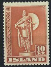 Iceland  VF MNH 1945 10KR stamp Thorfinn Karlsefni Perf 11 1/2  ref. 7003