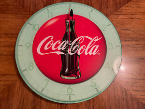 "Mint Coca-Cola Retro Round Red & Green Glass Wall Hanging Clock 12"" Diameter"