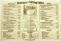 Original Vintage Menu HISTORIC CLIFTON MILL Restaurant Clifton Ohio Grist