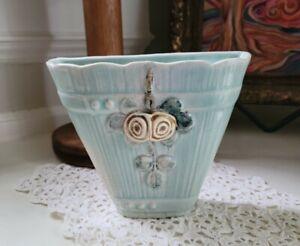 Pretty Vintage Blue Weller Woodcraft Roses Wall Pocket