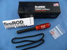 Exotac FireRod Tinder Capsule Fire Starter Ferrocerium Rod Blaze Orange