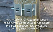 """Postfix Slotted Concrete Fence Post Brackets to Fit 4"""" x 4"""" 5"""" Posts 4 SETS"""