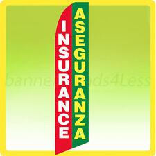 Insurance Aseguranza Swooper Flag Feather Flutter Banner Sign 11.5' Tall - gb