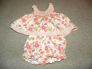 Gymboree Infant Toddler Girls White Pink Stripe flower Outfit 3 6 months