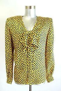 Vintage VALENTINO MISS V Yellow Blue Polka Dot SILK BOW TOP Shirt Blouse M 8 42