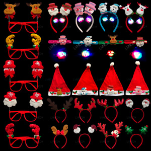 Merry Christmas Headband Slap Band LED Hair Hat Glasses Party Dress Adults Kids