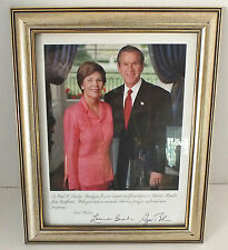 Laura and George W. Bush Photo 8 x 10 Framed Signed imprint