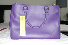 NWT Auth TORY BURCH Robinson Double Zip Saffiano Large Electric Purple Tote $575