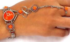 Fashion Bracelet, Alpaca Silver Slave Bracelet with Orange Glass Stones ALP213