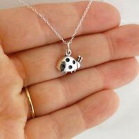Tiny Ladybug Necklace - 925 Sterling Silver - Charm Ladybugs Bugs Gift Small NEW