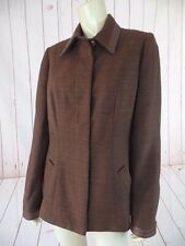 Carlisle Blazer Coat 10 Brown Slub Indian Silk Leather Trim Pockets Stunning New