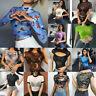 Women Summer Crop Top Mesh See-through T-Shirt Short Sleeve Blouse Tank Tops Tee