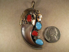 Vintage Sterling Silver/GF & Turquoise Faux Bear Claw Pendant, Unsigned, 19.9g