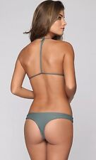 Mikoh Manoa Brazilian Bikini Bottom Army Green Olive Size XS X- Small NEW