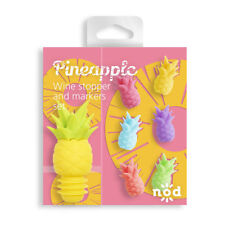 Nod Pineapple Silicone Wine Glass Charms / Drink Markers & Bottle Stopper - 7pc