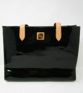 Dooney & Bourke Black Leather Vinyl Canvas Lined Mini Tote Shoulder Bag