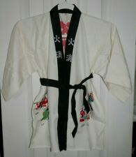 Vintage Childs Silk Kimono - Printed White Black Happi Coat Japan Children's
