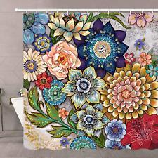 Neasow Boho Floral Shower Curtains for Bathroom, Bright Fabric Blossom Shower Cu