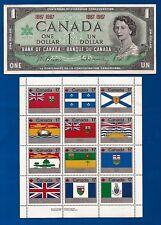 1967 CANADA 1 ONE DOLLAR BILL NOTE CRISP UNC + vintage Canadian FLAG stamps