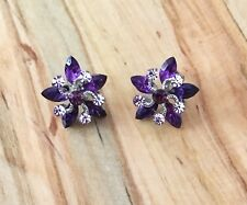 Rhinestone Earrings | Rhinestone Studs Amethyst Rhinestone Earrings | Purple