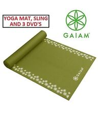 Gaiam 5Mm Hibiscus Border Print Premium Yoga Mat-Green