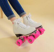 Women's Classic Retro 4 Wheels Quad Roller Skates Skating Shoe Pink Wheels