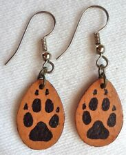 Leather Fox (?) paw print earrings -hand-cut & hand-painted by Minnesota artists
