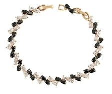 New 9CT Gold Filled  Tennis Bracelet Pear Cut Clear  and Black Onyx CZ  B336