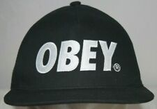 Obey Snapback Hat Cap Embroidered Logo One Size Black White Design Street Wear