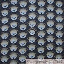 BonEful Fabric Fq Cotton Quilt Black White B&W Gold Metallic Hedgehog Mammal Pet