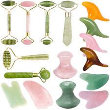 Natural Rose Quartz Facial Jade Stone Roller Beauty Massage Tool Face Massager