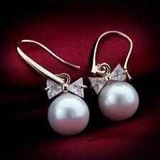 Lady's Elegant Pearl Crystal Rhinestone Ear Stud Earrings Jewellery for Women