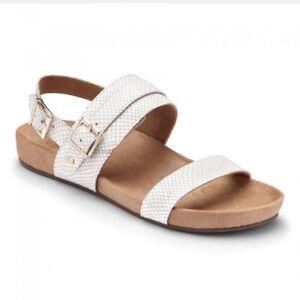 Vionic Womens Grace Samar Slingback Adjustable Sandal White Snake Size 7.5 New